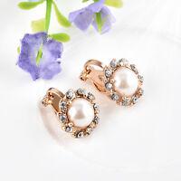 Clip On Chic Cream Pearl Crystal Rhinestone Drop Stud Gold Earrings Jewelry