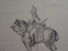 Auguste MACKER DESSIN CRAYON DRAGON CHEVAL CAVALERIE LOUIS PHILIPPE ALSACE 1840