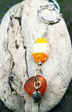 Orange  sea glass & lampwork bead charm silver chain choker necklace