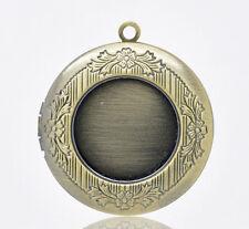 5 Antique Bronze Locket Pendant Setting Trays 20mm Inner Bezel Cabochon Settings