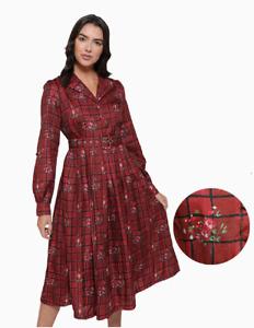 Lindy Bop 'Shannon' Vintage Red Rose Plaid Check Midi Shirt Dress BNWT