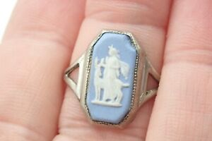 Vintage Sterling Silver Wedgwood Ring Size M