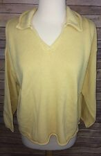 J Jill Yellow 3/4 Sleeve Sweater 100% Cotton Size Small Petite
