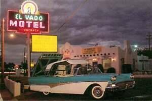 Roadside Postcard Route 66 - El Vado Motel, Albuquerque, New Mexico - '56 Ford