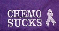 Chemo Sucks Sweatshirt M Crew Neck Embroidery Lilac Awareness Ribbon Purple New