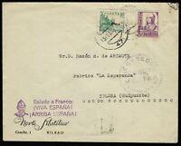 Sobre España sello censura militar Vizcaya Franco