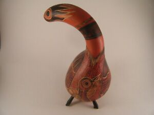 Vintage Carved Red Gourd Shaker Intricate Detail Engraved Bird Africa Tribal