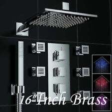US 16'' LED Shower Head 6 Sprayer Massage Jets Shower Faucet Set Mixer System