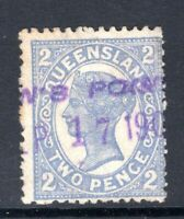 Queensland PARSON'S POINT single line rubber stamp postmark on QV 2d sideface