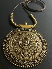 Long BROWN Cord necklace with large statement  ANTIQUE GOLD pendant LAGENLOOK