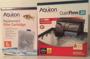 Aqueon QuietFlow 20 LED Pro Aquarium Power Filter tank ,30 Gallons+6 FILTERS