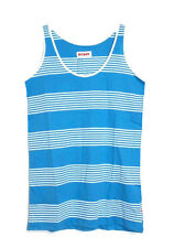 Boast - Women's S - NIP $48 - Blue & White Striped Scoop Neck Cotton Tank Top