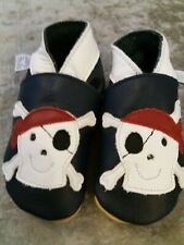 Baby boy daisy roots leather pirate crib shoes 6-12 months size 3 18-19 bnwt new