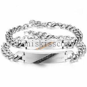 forever courage Stainless Steel Men Women Couples Chain Bracelet Christmas Gift