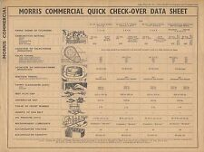 Morris Commercial Quick Check-Over Data Sheet No 23 Published by Newnes