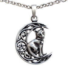 Celtic Cat moon Cham Wiccan Wicca Amulet Pewter Pendant stainless steel necklace