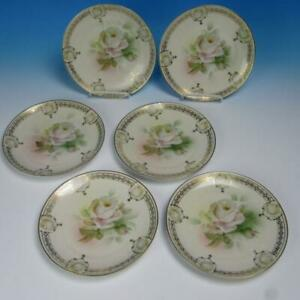 Prussia Crown Mark Royal Rudolstadt - Roses - 6 Dessert Plates - 7¾ inches