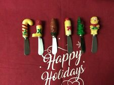 6 Vintage Plastic Handle Christmas Spreading Knifes  For The Holidays