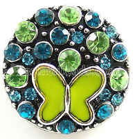 Blue Green Rhinestone Butterfly 20mm Snap Charm Jewelry For Ginger Snaps