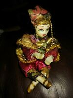 Vintage Porcelain Clown Jester Harlequin Doll Figure 6 inches