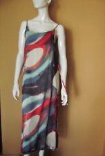 @ Made in Italy @ Vestito con Spalline Vestito Maxi Blu-Rosso GR. 38/40 Size L