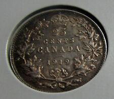 Canada 1919 25 Cents  Sterling Silver Quarter George  V