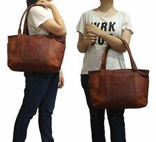 Women's Vintage Brown Leather Shoulder Tote Handbag Purse Satchel Shopper Bag
