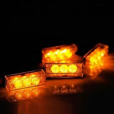 Amber 12 LED Emergency Vehicle Car Grille Strobe Flash Warning Lights Yellow