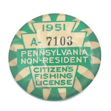 Vintage 1951 Pa Pennsylvania Non Resident Fishing License Button Pin