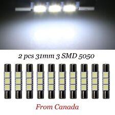 2x White 31mm 3-SMD 5050 LED Bulb Car Sun Visor Vanity Mirror Dome T6.3 Fuse 12V