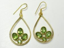 SOLID 925 STERLING SILVER PERIDOT DANGLE EARRINGS