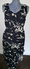 Pretty flattering black mix bias cut floaty midi dress by Collection, size 24