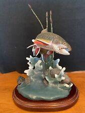 "The Danbury Mint Brook Jewel Fish Trout Sculpture by Franz Dutzler 10.5"" tall"