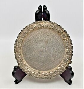 Vintage Repousse Sterling Silver 3 Leg Footed Dish Plate S. Kirk & Sons Company