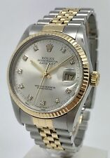 Rolex Datejust 16013 Quadrante Argento fabbrica Diamond 18k GOLD & STEEL 36 Men's Watch