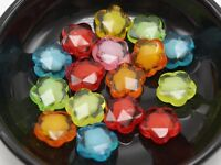 """100 Mixed Color Acrylic Faceted Flower Charm Beads 14mm """"Bead in Bead"""""""