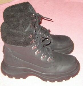 LADIES SIZE 5 BLACK SNOW BOOTS FLEECE LINED MINIMAL WEAR PRIMARK