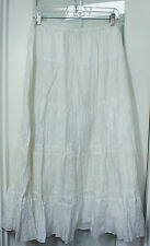 CHICOS WHITE EMBROIDERED EYELET LINED PEASANT SKIRT sz 2
