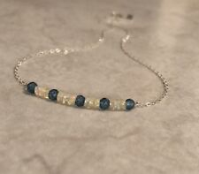 "Faceted Ethiopian Opal Necklace Apatite Beads S925 Chain 16.5"" AO-3"