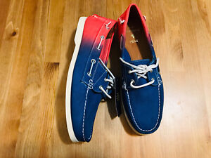 Ralph Lauren Polo Newport Merton boat shoes canvas/leather blue red NWOB SZ 10