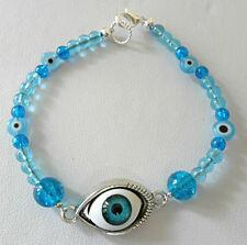 "Eye bracelet, blue glass beads, 7.5"""