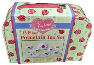13 Piece  Porcelain Tea Party  Set Child Toy  Ladybird
