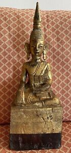 Vintage Hand-carved Gold Wooden Burmese Buddha