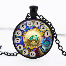 Phone Rotary Dial Black Dome Glass Cabochon Necklace chain Pendant #384