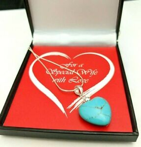 Large Real 925 Sterling Silver Blue Turquoise Stone Heart Necklace, Gift For Her