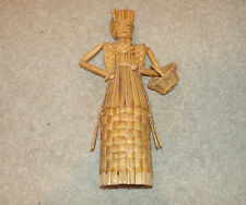 Wicker Woman/Girl/Person/Figure w. Basket-Collectible/Rare/V intage-Stands 15""