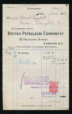 GB 1909 aceite British Petroleum Co Perfin en el recibo KE7th 1d