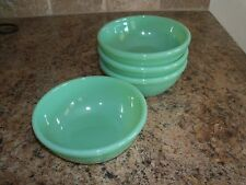 4 Vintage Fire King Jadite/Jadeite 15oz Restaurant Ware Rolled Rim Bowls G300