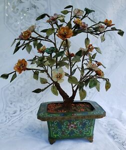 Antique Qing Dynasty Cloisonne Jade Tree Planter with stand