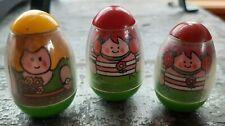 Lot of (3) Hasbro 1973 Playskool Weebles Wobbles pink, red, orange